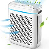 PUURVSAS Air Purifier for Home, True HEPA Filter with 3+1 Speed Fans, 25dB Quiet 3-Stage Filtration System for Bedroom Allergy, Filters 99.97% Virus, Pollen, Smoke, Dust Pet Dander, Mold Odors,White