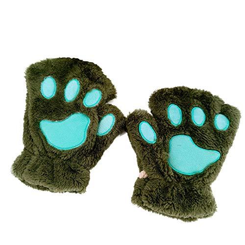 MEREDENG Fingerlose Handschuhe Frauen Nette Katze Klaue Pfote Plüsch Handschuhe Warme Weiche Plüsch Kurze Fingerlose Flauschige Bär Katze Handschuhe Kostüm Half Finger-Grün