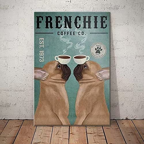 French bulldog Dog Retro Metal Tin Signs Frenchie Coffee Co. Restaurant Cafe Living Room Kitchen Home Bar Decoration Art Wall Printing Poster Plaque