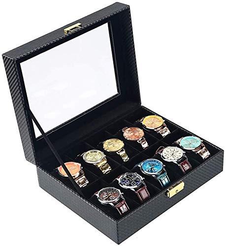 SHANCL Caja de almacenamiento de relojes de estilo europeo negro, caja de...