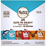 NUTRO Grain Free Natural Soft Wet Cat Food Cuts in Gravy Beef Recipe, Tuna Recipe, and Chicken Recipe Variety Pack, (24) 2.6 oz. PERFECT PORTIONS Twin-Pack Trays