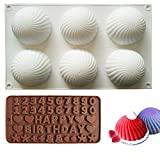 6 Cavity Semicircle Spiral Silicone Baking Pan and Number Chocolate Molds with Happy Birthday Cake Decorations Symbols for Mousse Chocolate Brownie Ice Cream Chiffon Cheesecake Fondant