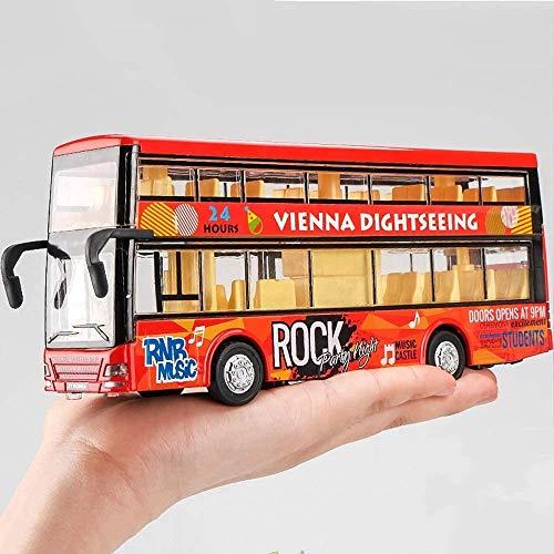 Zhangl Aleación autobús Sonido Simulación y autobús Luz Modelo del Muchacho y de Doble Capa Tire hacia atrás de Coches de Juguete Exquisita Caja de Juguete de Regalo (Color: Azul) (Color : Rojo)