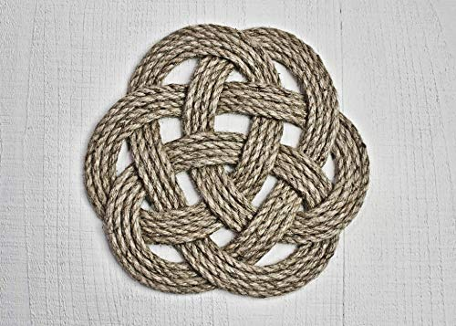 Hand Braided Nautical Style Rope Trivet   Handmade Natural Cord Hot Pad   Decorative All Natural Decor   Farmhouse Accent   Hand Woven Hemp Jute Pot Holder   Handmade in the USA