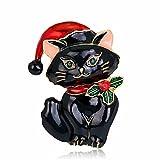 Inovey Mloveacc Christmas Lovely Katze Form Broschen Weiß Emaille Tier Brosche Für Frauen Kids Party Geschenke Schmuck - Schwarz