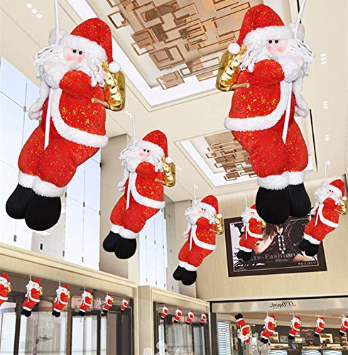 Fine Santa Claus Climbing on Rope Ladder for Christmas Tree Indoor Outdoor Hanging Ornament Decor Christmas Xmas Party Home Door Wall Decoration (D)