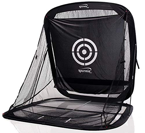Spornia SPG-7 Golf Practice Net - Automatic Ball Return System W/Target Sheet, Two Side Barrier (Without Roof)