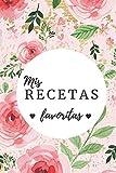 mis recetas favoritas: cuaderno en blanco para anotar las recetas favoritas con una bonita portada con lunares negro y flores