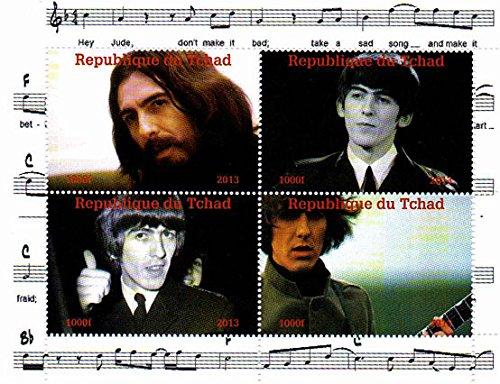 Stampbank I francobolli Beatles - George Harrison - 4 Foto del leggendario Beatle - Menta e minifoglio smontato con 4 francobolli