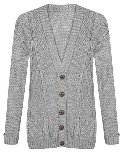 Riddled With Style Cardigan à manches longues et boutons pour femme - Gris - 52