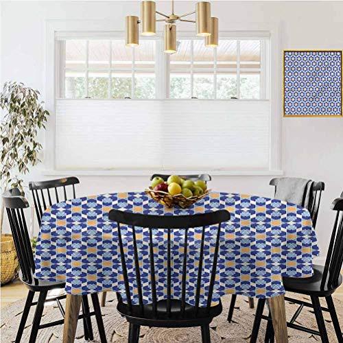 Ronde tafelkleed, Home Decoration tafelkleed, Arabisch, Flower and Sun Motif Tegels Waterdicht, spatwaterdicht, wasbaar nylon tafelkleed,