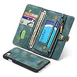 PULLEY-CASE - Cartera con cremallera para iPhone 8/SE2020, 2 en 1, multifunción, de piel, con ranuras para tarjetas de crédito y tapa abatible, para iPhone 7 (color: azul)