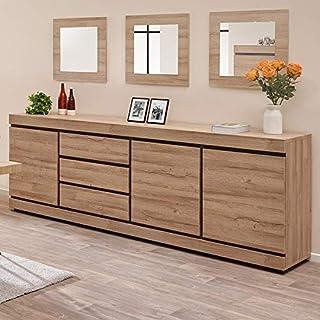 NUEMOBLE Enhebrado 250 cm contemporáneo color madera clara Marlon