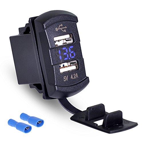 Rydonair Universal Rocker Style 4.2A Dual USB Charger Socket with Blue LED Digital Voltmeter Gauge for Rocker Switch Panel on Marine, Boat, Car, Golf Cart, UTV, ATV, etc