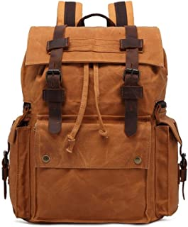 Well-Made Retro Men's Bag Crazy Horseskin Backpack Oil Wax Canvas Backpack Outdoor Travel Computer Backpack Large Capacity Size: 33 * 43 * 16cm Dynamic (Color : Beige)