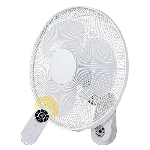 ZHIQ Ventilador de Pared con Control Remoto, Temporizador de 4 Horas, 3 Modos, Oscilación de 120 Grados, Inclinación Ajustable, Seguro para Uso en el Hogar y la Oficina en el Dormitorio, Color Blanco