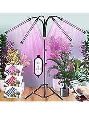 CXhome LED Plantenlamp met Standaard, 4 in 1 Rood/Blauw Grow Light, RF Controller & Bedrade Timing 4/8/12H, 3 Lichtmodi & 10 Trapsdimmen, 39~150cm Stabiel Verstelbaar, voor kamerplanten.