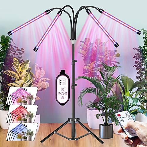 CXhome LED Växtlampa med Stativ 15,7-43,3 tum, 4 i 1 Grow Light Röd/Blå, RF Trådlös Fjärrkontroll & Kabelstyrd Timing 4/8/12 H, 3 Ljuslägen & 10 Stegs Ljusstyrka, för Inomhusväxter.
