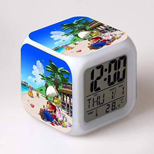 Reloj de anime Super Mario Super Mario Bros Withchange Led Reloj despertador digital Noche Cambio colorido