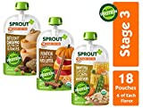 Sprout Organic Stage 3 Baby Food Pouches w/ Plant Powered Protein, Variety Pack, 4 Ounce (Pack of...