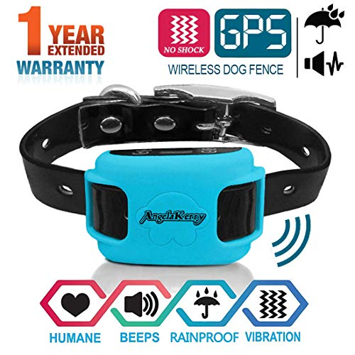 AngelaKerry Drahtloser Hundezaun Enthalten System für 850YD Fernbedienung Reichweite, mit GPS Halsband, Vibration & Ton (Blau)