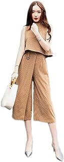 Kokoya レディース ワイドパンツ 7分丈 リラックスパンツ セットアップ オールインワン 上下セット ストライプ パーティー 結婚式 お呼ばれ 通勤 シンプル きれいめ カジュアル ワンピース パンツドレス 着心地良い 涼しい