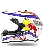 Cascos de Motocross,Cascos Modulares Certificación DOT Ciclomotor Off Road Crash Cross Downhill DH Four Wheelerd Cascos Integrales Con Gafas Guantes Red Bull A,XL