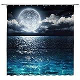 JOOCAR Design Duschvorhang, Fantasie-Mond, schöne Meereswolken, Planeten, Sternenhimmel, traumhafte Nachtszene, schwarz-rot, wasserdichter Stoff, Badezimmer-Deko-Set mit Haken