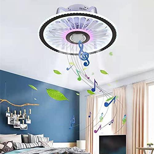 Lampada da Soffitto Bluetooth Altoparlante, Plafoniera Dimmerabile LED Soffitto con Ventilatore Telecomando Illuminazione da Soffitto per Soggiorno Camera da Letto Ristorante Ufficio, Ø48cm, 36W*2