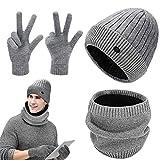 GIKPAL Hiver Chaud Chapeau Beanie Écharpe Bonnet Chapeau Tricot avec Écharpe Écran Tactile Gants de Doublure Polaire pour Homme et Femme
