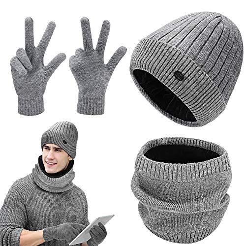 GIKPAL Wintermütze Warm Strickmütze und Schal Handschuh Set Beanie Mützen mit Fleecefutter für Damen und Herren (Grau)