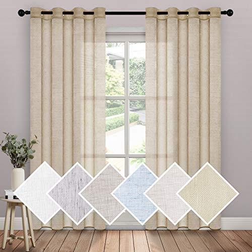 "MIULEE 2 Panels 72 Inch Netural Linen Semi Sheer Window Curtains - Elegant Solid Natural Drapes Grommet Top - Window Voile Panels Linen Textured Panels for Bedroom Living Room (52"" W X 72"" L )"