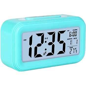 Zorara Réveil Digital Alarme Horloge Numérique, Alarm Clock Réveil LED Lumineux Réveil à Pile Silencieux Température Calendrier Veilleuse Snooze pour