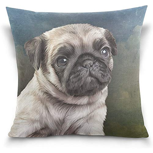 Drawing Pug Dog Vintage Square Throw Pillow Case Cotton Velvet Cushion Cover