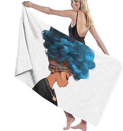 Edmun Toalla de Playa de Microfibra Mujeres afroamericanas Toalla de baño de Cabello Azul Manta de Playa Toalla de Secado rápido para Acampar Camping Gimnasio Deporte 80 * 130 cm