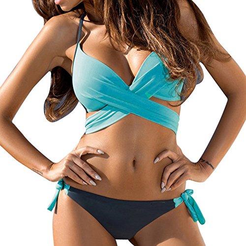 Bikinis Mujer 2019 Push up con Relleno LANSKIRT Trajes de baño Mujeres bañador Halter Tankini Banda Cruzada Conjunto de Bikini Tangas Dos Piezas