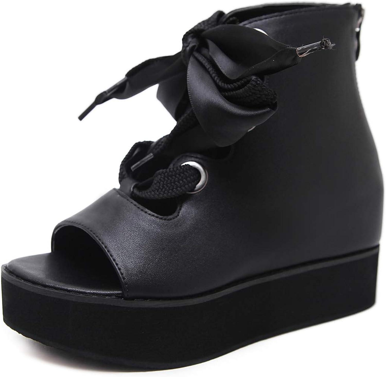 Soulength Women's Sandals Lace Tied Wedge Platform shoes