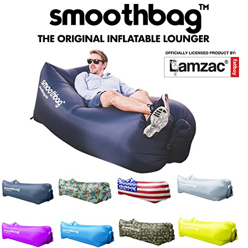 SMOOTHBAG Inflatable Lounger and Indoor Outdoor Sofa: Lazybag Air Lounge Chair with Built-in Headrest | Banana Sleeping Bag, Hammock, Pool Float, Portable Camp Seat, Lazy Hangout Couch Bed (Navy)