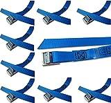 Befestigungsriemen-Set ideal zur Befestigung am Fahrradträger , Klemschloss Gurte , Spanngurte , iapyx (10er Set, blau)