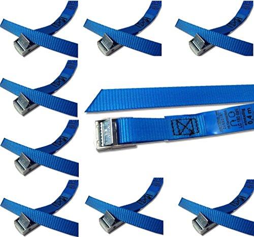 iapyx Befestigungsriemen-Set ideal zur Befestigung am Fahrradträger, Klemschloss Gurte, Spanngurte (10er Set, blau)