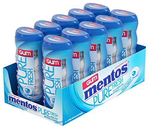 Mentos Pure Fresh Sugar-Free Chewing Gum with Xylitol, Fresh Mint, 15 Piece Bottle (Bulk Pack of 10)