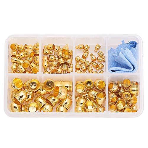PandaHall Elite alrededor de 120 piezas de 6 tamaños de cordón dorado, latón redondo barril cierre Kumihimo extremo tapa para borlas de cuero barril fabricación de joyas (4 ~ 10 mm)