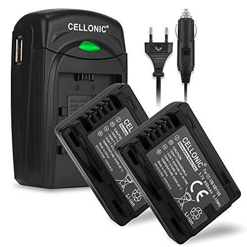 CELLONIC 2X Batteria Compatibile con Panasonic HDC-SD40 -SD60 HDC-TM60 -TM55 HDC-HS60 SDR-S50 -S70 SDR-H85 SDR-T50 -T55 -T70 HC-V110 -V130 -V201, VW-VBY100 VW-VBL090 850mAh + Caricabatteria accu