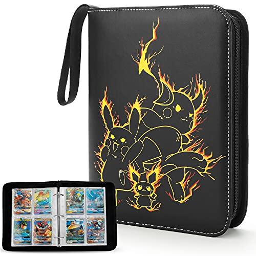 Yinke Sammelkarten Tasche für Pokemon Sammelalbum GX EX - Kartenordner für Bis Zu 400+ Cards, Reisetasche Schutzhülle Aufbewahrungstasche Box Hülle (3PK Yellow)