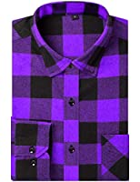 DOKKIA Men's Dress Button Down Buffalo Plaid Checked Long Sleeve Flannel Shirts (Purple Buffalo Plaid, X-Large)