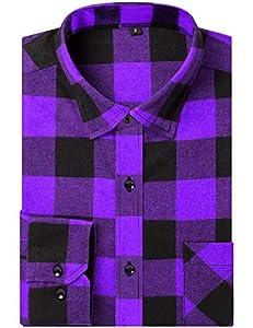 DOKKIA Men's Dress Button Down Buffalo Plaid Checked Long Sleeve Flannel Shirts (Purple Buffalo Plaid, X-Large)