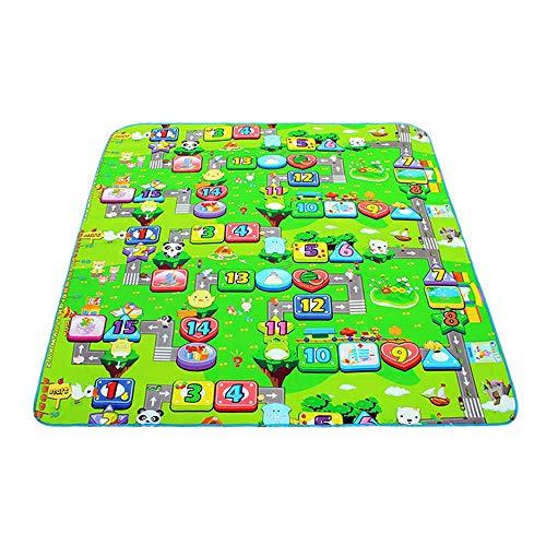 Blanketswarm Kinder Krabbel-Spielmatte, 180 x 150 cm, 2 Seiten, weicher Schaumstoff, wasserfest und feuchtigkeitsbeständig, Baby Spielmatte, Picknick-Teppich, inklusive Aufbewahrungstasche A4
