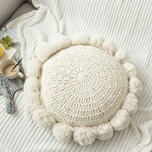 Cojines para Sillas Cojín redondo de almohada decorativa de Boho para sofá cama Cojines de coche Cojines para el hogar Decoración hecha a mano Cojín trasero Relleno Redondo Almohada Cojines para Silla