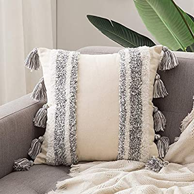 MIULEE Decorative Throw Pillow Cover Tribal Boho Woven Tufted Pillowcase with Tassels Super Soft Square Pillow Sham Pillowcase Cushion Case for Sofa Couch Bedroom Car Living Room 20x20 Inch Grey