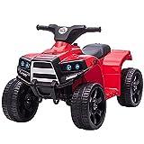 HOMCOM Quad Eléctrico para Niños 18-36 Meses Cuatrimoto Infantil a Batería 6V con Faros Bocina Velocidad 0-3 km/h Avance y Retroceso 65x40x43 cm Rojo